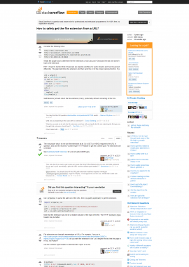 screenshot of http://stackoverflow.com/questions/4776924/how-to-safely-get-the-file-extension-from-a-url