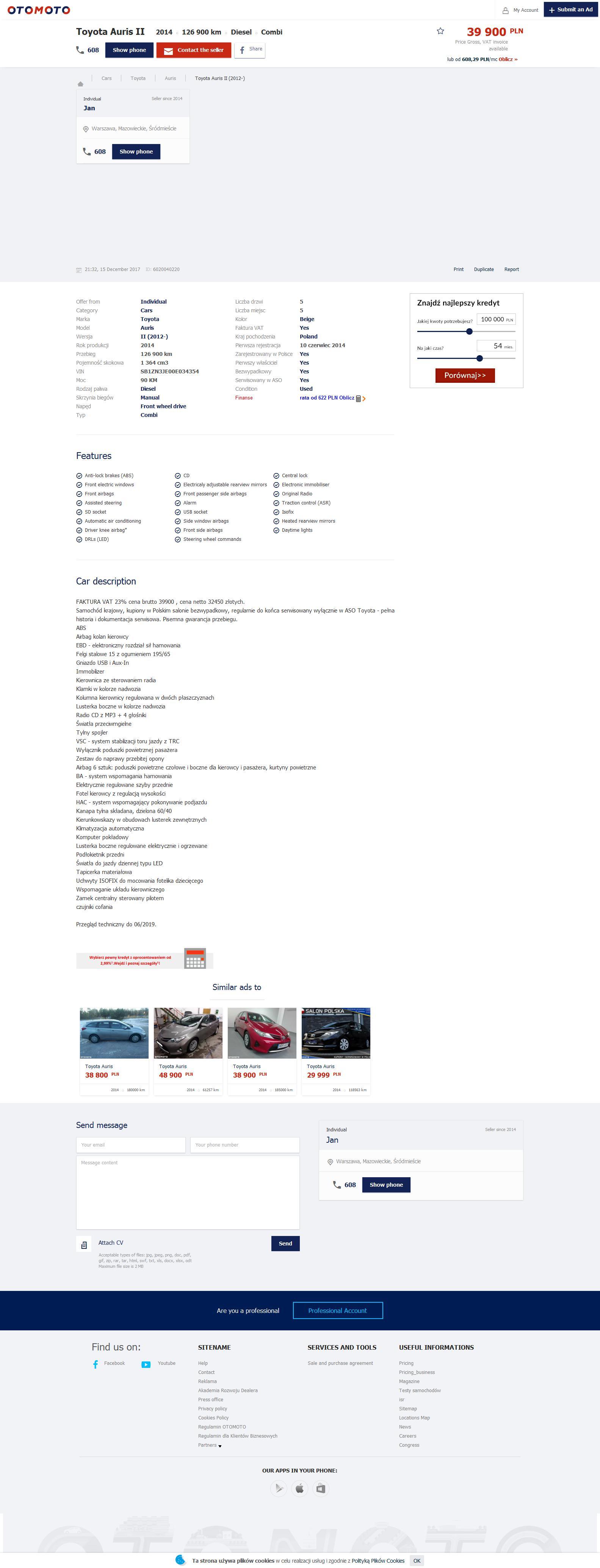 2e34b8bf6f18f https   www.otomoto.pl en oferta toyota-auris-active-1-4-d4d-fv-23-polski -salon-bezwypadkowy-gwarancja-przebiegu-ID6zptsU.html