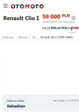 screenshot of https://www.otomoto.pl/oferta/renault-clio-williams-phase-2-ID6zNGs4.html