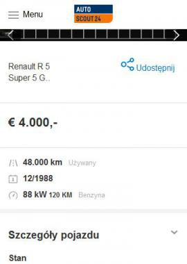 screenshot of https://www.autoscout24.pl/oferta/renault-r-5-super-5-gt-turbo-benzyna-bialy-2b665a76-a16f-6050-e053-e350040a59e5