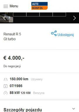 screenshot of https://www.autoscout24.pl/oferta/renault-r-5-gt-turbo-benzyna-bialy-43b54c79-3c7d-f247-e053-e350040a5e65